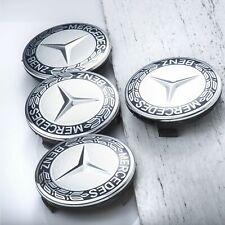 LOT 4 Caches Moyeu Emblème Mercedes Logo Jantes Centre Roue NOIR ET GRIS 75mm