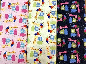 Childrens 100% Cotton Fabric Zoo Animals Elephants Giraffes  3 Colours