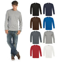 B&C Collection Exact 190 Long Sleeve T-Shirt TU005 - Mens Plain Cotton Basic Top