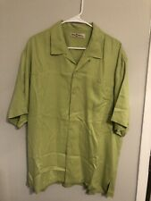Tommy Bahama Men's Short Sleeve Green Silk Button Front Shirt L Large