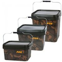 Fox Camo Square Carp Fishing Buckets - 5ltr, 10ltr OR 17ltr Available
