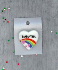 Rainbow & Hearts Fashion Pin Brooch Personalized SAMANTHA - Stocking Stuffer