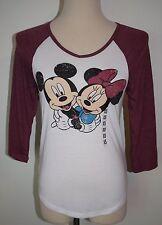 New Disney Mickey Minnie Mouse Top 3/4 Sleeve XS V-Neck Shirt