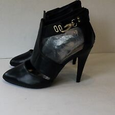 Qupid Black Leather Strappy Cut Out Stiletto Heels Pointy Toe Size 8m NWOB