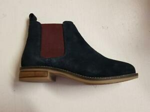 Womens Cipriata L732NCS Pull-on Suede Flat Winter Chelsea Ankle Boots Navy/Berry