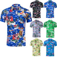 Summer Mens Short Sleeve Hawaiian Shirts Floral Print Casual Shirts Beach Shirts