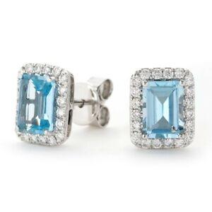 18Carat White Gold Emerald Cut Aquamarine & Diamond Studs Earrings 2.85 Carats