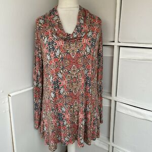 SAHARA Red & Green Patterned Tunic Top Size XL Stretch Jersey Swing Cowl Neck