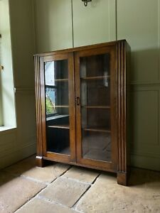 Vintage Solid Oak Wood &  Ply Display China Bookcase Drinks Cabinet Cupboard