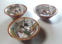 Japanese KUTANI Pottery Shunga Makura-e 3 Sake Cups SAKAZUKI GUINOM Japan Rare