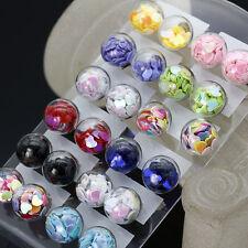 Fashion 2pcs Women's love Heart Chips Clear Glass Ball Ear Studs Earrings Pin