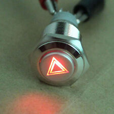 16mm Hazard Warning Light Metal LED Switch Emergency Button 12V Push ON/OFF fu