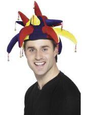 Unisex Jester Hat & Bells Fancy Dress Adult Accessory Funny Clown Carnival Fun