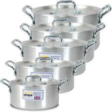 5 pcs Casserole Pan Aluminium Kitchen Cooking Pan Saucepan Pot Set Lid Cookware