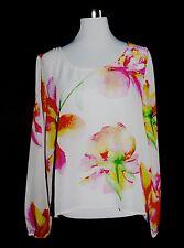 Damenbluse / leicht transparent & Aquarell Blumenmuster Gr. L