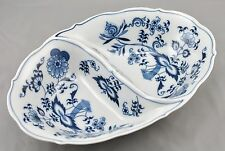 Blue Danube Japan Oval Divided Vegetable Bowl Blue Onion Pattern Rectangle Mark