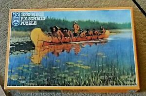 French Explorers FX Schmid 1000 pc Jigsaw Puzzle Native Americans Canoe USA Made