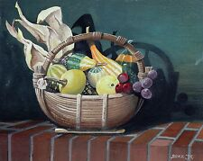 "Burling Boaz ""Still Life with Squash"" 16""x20"" Egg Tempera on Board; Indiana Art"