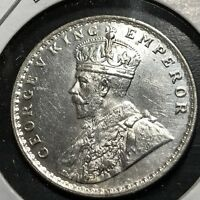 1919-B INDIA SILVER ONE RUPEE BRILLIANT UNCIRCULATED COIN