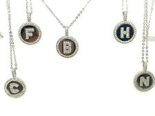 "Sterling Silver 925 Cz-Disk Initial Letter B C F H N Pendant Necklace18"" Pick 1"