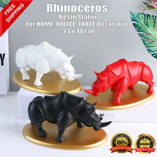 Animal Statue Resin Rhinoceros Model For Home Office Table Decoration Toy Sculpt
