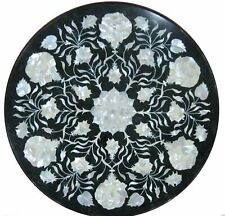 "18"" black marble Table Top Inlay Work Handicraft pietradura floral work decor"