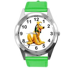 PLUTO DOG FILM CARTOON MICKY MOUSE FRIEND CD DVD TV GAME GREEN LEATHER WATCH
