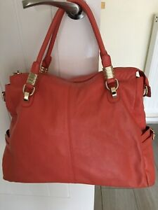 Coral Pepple Grain Leather Tote Bag