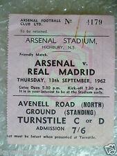 Billete 1962 Arsenal V Real Madrid, 13 Sept (Original * en muy buena condición *)