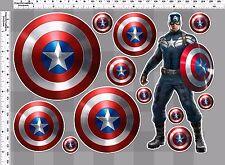 1 set captain america decal sticker print die-cut out vinyl wall board mirror