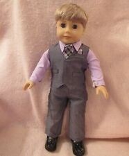 Gray Vest Set fits American Boy Doll 18 Inch Clothes Seller lsful