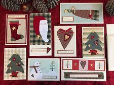 Christmas Cards Handmade Pack of 8 Luxury Xmas Cabin Rustic American Folk Art