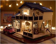 1:24 Big DIY Wooden Handcraft Miniature Provence Dollhouse & Furniture LED Light