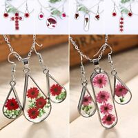 Natural Dried Real Flower Rose Glass Pendant Necklace Earrings Jewellery Set New