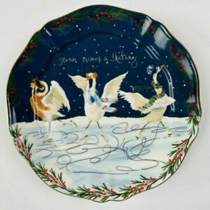 Anthropologie Inslee Fariss 12 Days of Christmas Plate 7 Swans Skating  -1 Plate