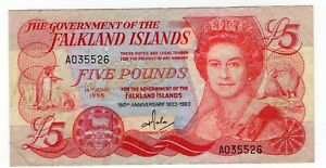 FALKLAND ISLANDS - 5 POUNDS 1983 (F) P# 12a COMMEMORATIVE 150th Ann.