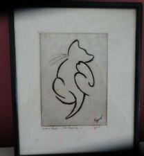 Hyman Segal signed  framed Artist Proof on paper   - Cat Preening          (CHI)