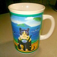 OTAGIRI 1995 Elizabeth Brownd ENESCO Mug Cup with Cat with Snorkel Gear Sharks