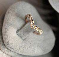 2 Pcs Fashion Cute V Shaped Shining Crystal 18k Gold Filled Ring Women Jewelry