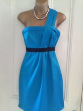 River Island. Size 10. Turquoise one shoulder dress. Satin effect. Boned.Stretch