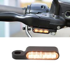 """Harley Blinker + Blinkerhalter schwarz Pulver helle LED """"Flywheel-Design"""" E-gep."""