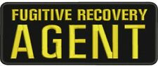 Fugitive Recovery Agent embroidery patches 4x10 hook gold letters