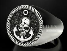 Anchor Skull decent 925 Sterling Silver Men biker Rider Ring