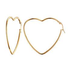 Damen Creolen Goldenes Herz 38 mm Edelstahl 316L Ohrringe Kreolen Ohrhänger Gold