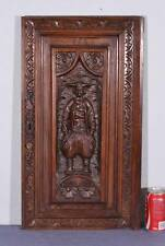 French Antique Breton Panel Wood Brittany Deeply Carved Chestnut Door w/ Man (K)