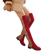 Women Sexy Leopard Print Casual Over The Knee Boot Low Heel Round Toe Shoes Size
