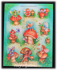 Vintage Hallmark Scratch N Sniff Mushroom Fairies Children Flowers Stickers