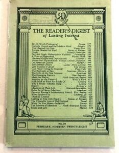 READERS DIGEST VINTAGE No70, FEBRUARY 1928