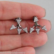 925 Sterling Silver - Arrows Unique New Cz Ear Jacket Triangle Earrings - Black