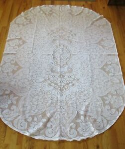 Vintage Lace Tablecloth 60 X 82 Oval White Clean!